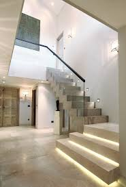 staircase lighting ideas. Stair Lighting Ideas Staircase Contemporary With Stone Floor White Wall