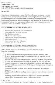 Recruiter Resume Examples Simple Recruiter Resume Templates Entry Level Recruiter Resume Template