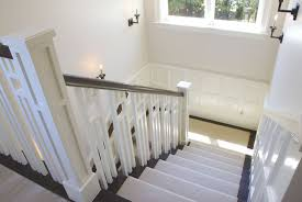 chair rail wainscoting. Craftsman Staircase With Chair Rail, Cathedral Ceiling, Wainscoting, Carpet, Wall Sconce Rail Wainscoting