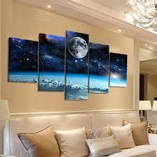 5 panels modern space moon canvas