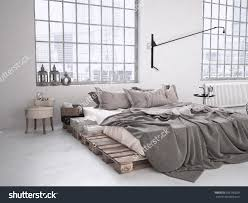 Modern Industrial Bedroom Modern Industrial Bedroom Loft 3d Rendering Stock Illustration