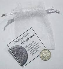 wedding sixpence and a lucky sixpence in her shoe in gift bag