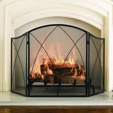 glass fireplace screen. Pleasant Hearth Black Powder Coat Arched 3-Panel Fireplace Screen Glass