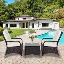 outsunny rattan garden furniture 3 pcs