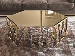 hexagonal mirrored glass coffee table ginza mirrored glass coffee table by longhi