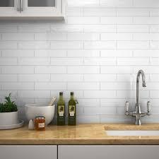 mileto brick white gloss ceramic wall tile 75 x 300mm large image