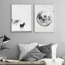 Horse <b>Dog Animal Canvas Paintings</b> Black White <b>Animal</b> Wall <b>Art</b> ...