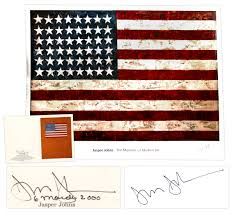 jasper johns signed 38 x 40 poster of his famous