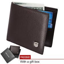 Bostanten Men s Genuine Cowhide leather biford wallet (coffee)