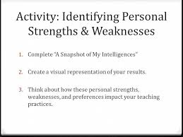 my personal strengths weaknesses essays
