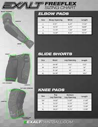 Hockey Elbow Pad Size Chart Exalt Paintball Slide Short Pant Elbow Pad Size And Sizing Chart