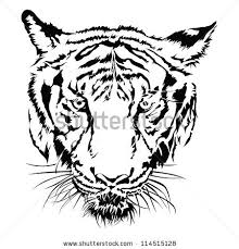 tiger face clipart black and white.  Black Clipart Info Inside Tiger Face Black And White R