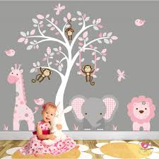 jungle wall art decals pink and grey nursery