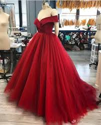 New Ball Gown Design Us 112 52 8 Off Dark Red Ball Gown Quinceanera Dress Simple Design Vestidos Off The Shoulder New Formal Dresses Custom Made In Quinceanera Dresses