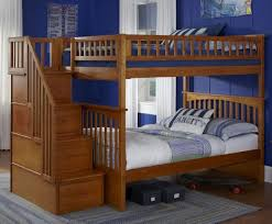 Bedroom: Wooden Full Bunk Beds With Stairs And Storage - Bunk Beds With  Trundle And