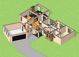 3d floor layout slider 3 bedroom house plan by nethouseplans