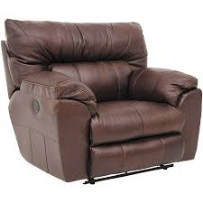 picture of walnut italian leather power recliner