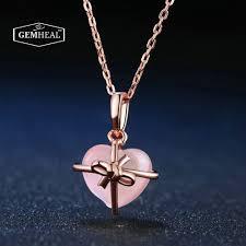 rose quartz heart necklace 2