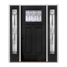 pella craftsman decorative glass right hand inswing painted fiberglass prehung entry door with sidelights and insulating core common 60 in x 80 in
