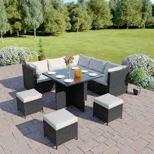garden dining furniture rattan. on sale modular corner cube dining set in black with light cushions garden furniture rattan g