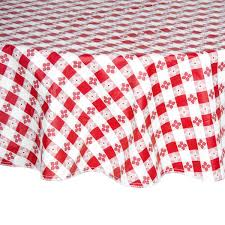 round red checd gingham vinyl table cover with flannel back main picture