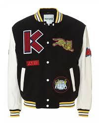 mens patchwork varsity jacket black white logo er jacket
