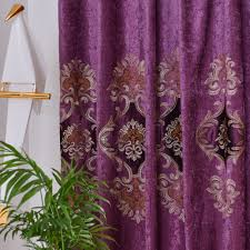 Purple Stitching Embroidery Curtain Cloth Tulle Luxury Blue Villa Curtain  for Living Room Fancy High End Window Drapes WP021 *NT Curtains  -  AliExpress