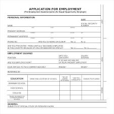 Pre Employment Application Template Pre Employment Application Form Template For Getpicks Co