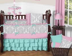 Pink Gray and Turquoise Skylar Baby Bedding 9pc Girls Crib Set
