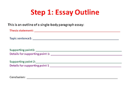 remember the steps just like in writing a paragraph you need  step 1 essay outline this is an outline of a single body paragraph essay