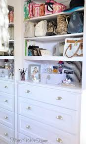 i moved my handbags and travel totes to the shelves above the dresser so i can see them more easily they were behind the door before