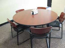 42 round cherry laminate table by haworth