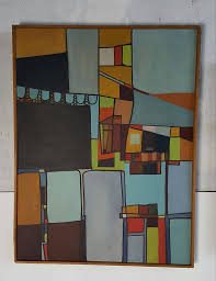 mid century modern abstract constructivism oil paintings signed deglopper wonderful use of color