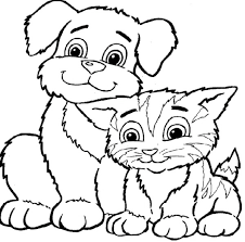 Unique Cute Dog And Cat Coloring Pages Fangjianme