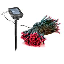 Solar Powered Red Led Lights 55 Ft Solar Outdoor Holiday String Lights W Red Led 2 Pack