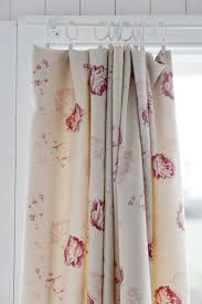 curtains in cabbages roses fabric