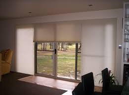 white shade for glass sliding door with wooden frames