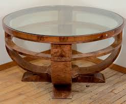 round art deco french glass top coffee table with burled finish at