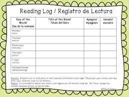 First Grade Reading Log Bilingual English And Spanish Weekly Reading Log For K And First Grade