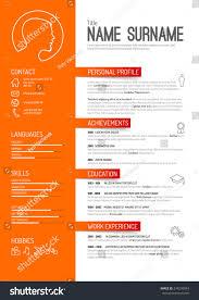 Orange Curriculum Vitae Layout Template Stock Vector 274270034