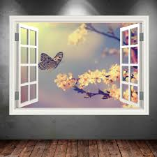 erfly window frame full colour wall art sticker decal transfer mural graphic