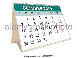 2019 October Calendar 2019 October Month In A Desk Calendar In English Week Starts On