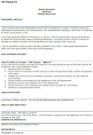 Good Looking Cv Hr Trainee Cv Example Icover Org Uk