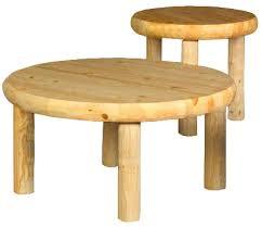rustic pine log northwoods round coffee table