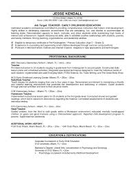 Objective For Early Childhood Education Resume Early Childhood