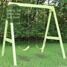 wood swing set old to new again with paint