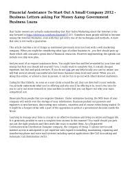 How To Start A Business Letter Financial Assistance To Start Out A Small Company 2012 Business Let