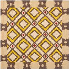four seasons beige yellow 6 ft x 6 ft square area rug