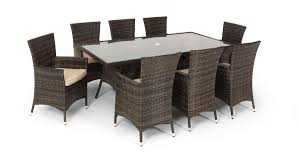 rattan garden dining set large 8 seater dining table 8 arm chairs with cushions