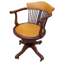 luggage colored leather antique desk chair at 1stdibs vintage leather office chair uk